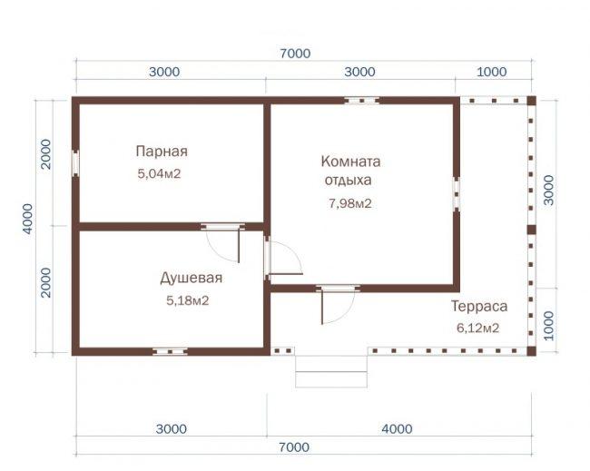 Проект бани-75