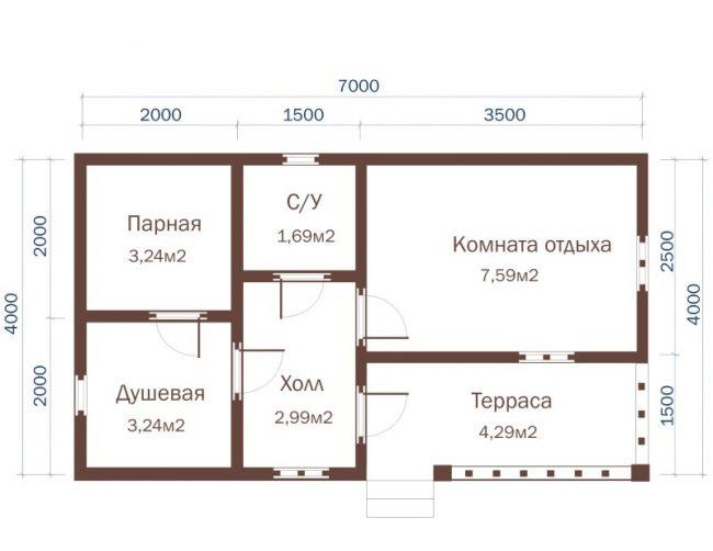 Проект бани-74